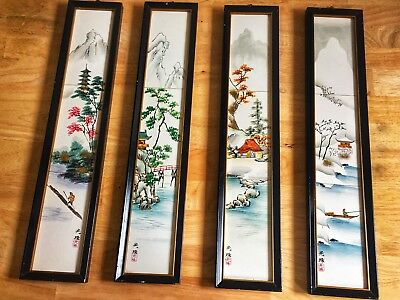 4 Seasons Hand Painted Japanese Wall Hang Tiles Made In Japan Signed PAT. 492647