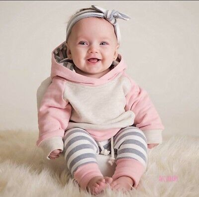 Newborn Baby Boys Girls Hoodie Tops+Pants Outfits Toddler Clothes Set
