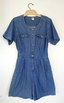 VTG 90s Gitano Denim SHORTALLS ROMPER Jumpsuit M Blue Grunge Cotton Jean