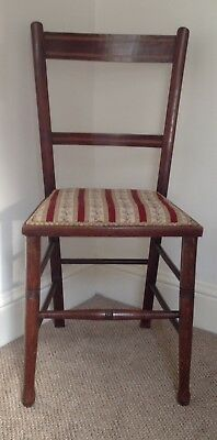 Antique Edwardian Chair Mahogany Inlaid With Upholstered Seat Base.