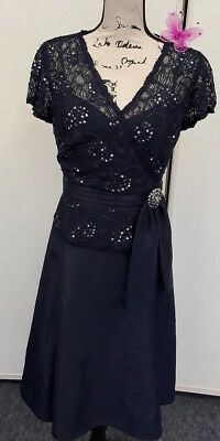 KM COLLECTIONS Milla Bell Gorgeous NAVY BLUE Formal Wedding Embellished HACM