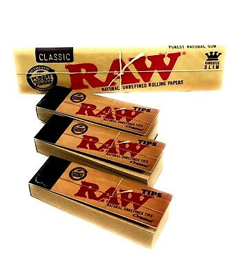 Genuine RAW Rolling Papers King Size Slim Classic Unrefined Skin+3 RAW TIPS