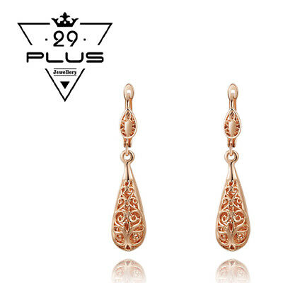 Vintage 18K Rose Gold Filled Filigree Drop Earrings Antique Style Jewellery