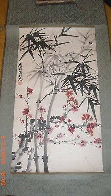 ORIGINAL Japanese Watercolor Painting Scroll Signed