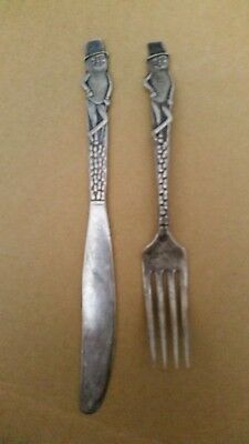 MR PEANUT SILVER PLATE KNIFE and FORK