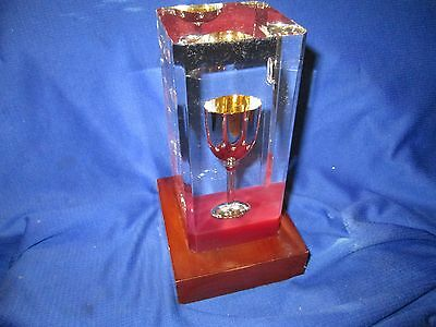 "encased Silver Cup Trophy Award Wood Base used small chalis goblet 7"" TALL TAIHO"
