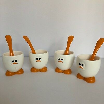 Joie Set Of Four Plastic Egg Cups And Spoons With Cute Duck Faces Feet Euc