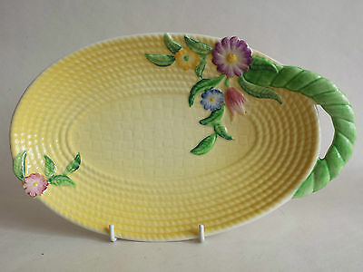 Lovely Yellow Art Deco Carlton Ware Australian Design 'Flowers & Basket' Dish