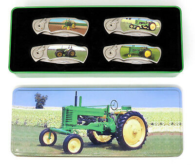 John Deere American Farmer Collector 4 Pocket Knife Set with Tin VGUC