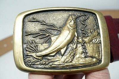 Vintage BTS solid brass belt buckle fishing bass on the line, Ram leatherworks