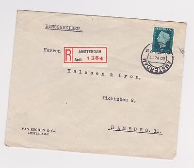 Netherlands Registered Airmail Cover to Germany from 1949