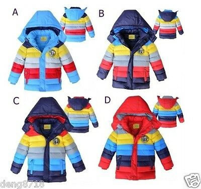 Kids Boys Girls Clothes Winter Coat Kid Rainbow Down Jacket Size 3-6Y Outerwear