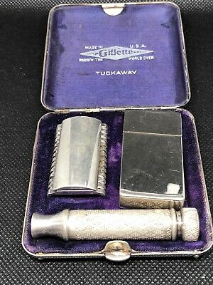 Vintage Gillette Tuckaway Razor shave Set Made In USA Make Offer In Box