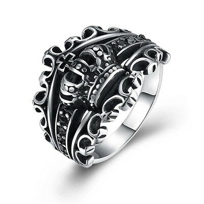 Men's King Crown Sovereign Motorcycle Biker Ring Hot Stainless Steel Cross Rings