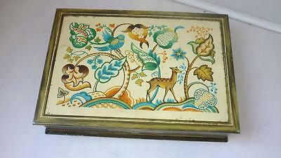 Vintage Vibrant Abstract Nature Scene 6 MB Tin Container, Made in England