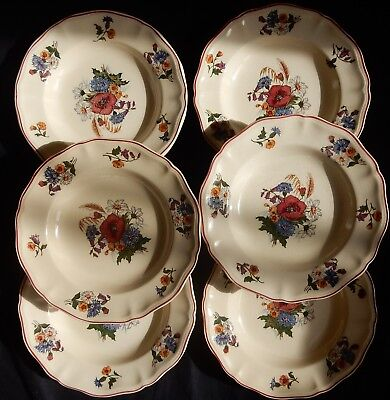 "Lot x 6 assiettes creuses Sarreguemines ""Agreste"" (25 cm)"