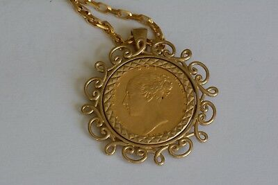 Lovely vintage 1859 half sovereign pendant 9ct gold mount coin and lovely vintage 1859 half sovereign pendant 9ct gold mount coin and chain aloadofball Image collections