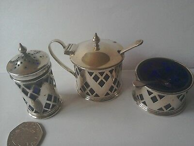 Silver Three Piece Cruit Set ,With Liners and Spoons.