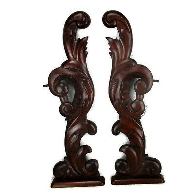 Couple Corbels Hand Carved Wood Pediment Over Door Architectural Standing HTF