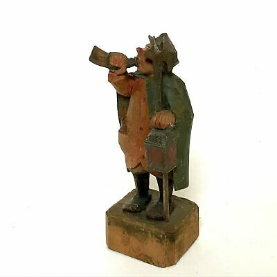 Vintage Folk Art Wood Carving of a Night Watch Drinking on Post Anri