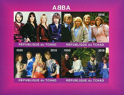 Chad 2018 MNH ABBA 4v IMPF M/S Pop Stars Popstars Music Celebrities Stamps
