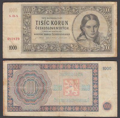 Czechoslovakia 1000 Korun 1945 (F-VF) Condition Banknote KM #74a NOT PERFORATED