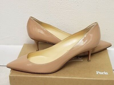 adf9af544d9 CHRISTIAN LOUBOUTIN DECOLLETE SHOES PUMPS Red Sole NUDE PATENT KITTEN HEELS  38.5