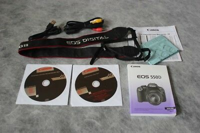 Instructions for Canon EOS 550D with Accessories Strap Leads Disks