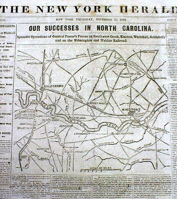 1862 Civil War newspaper w Large map NORTH CAROLINA Goldsboro WILMINGTON Kinston
