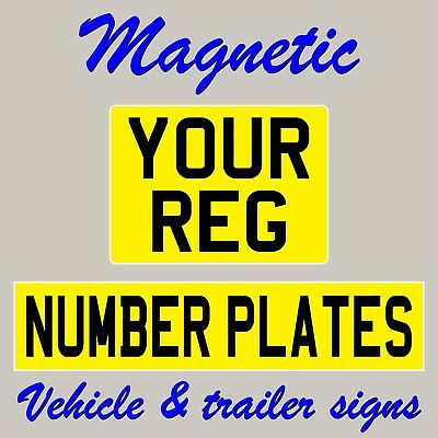 Reflective yellow magnetic number plate 520mm x 111mm or 280mm x 203mm