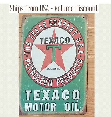 Retro TEXACO Gas Station Sign Chevron Texaco Metal Art Green Texaco Gifts Gift