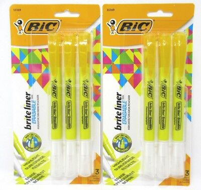 Bic Brite Liner Erasable Highlighter Yellow 2 Packs 3 Each  6 Total