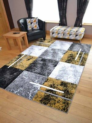 New Modern Designer Squares Thick Ochre Mustard Gold Small Large Floor Mats Rugs