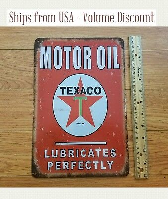 Vintage TEXACO Sign Texaco Gas Station Sign Texaco Motor Oil Metal Sign Garage