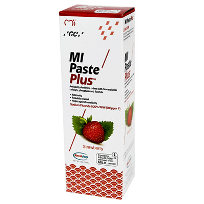 1 x GC MIPASTE Strawberry Tooth Cream  WITH RECALDENT 10 TUBES OF40GM