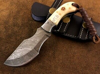 Handmade-Blacksmith Crafted Damascus Steel Mini Tracker Knife-Sheath-MT8