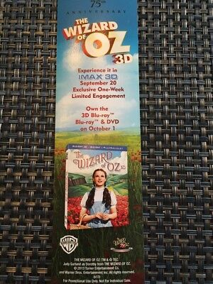 Wizard Of Oz 75th Anniversary Bookmark Advertising The 3D Movie