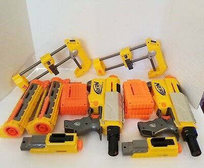 Nerf N-Strike Recon CS-6 Lot Of 2 Plus Extra Magazines Lasers ETC TESTED WORKS