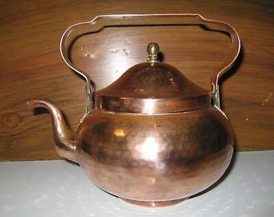Vintage Hand Hammered Mission Style Copper Kettle 8 Cup Tea Water Pot