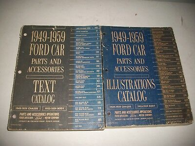 1949-1959 Ford Car Parts & Accessories Parts Catalog 2 Book Set Ford Thunderbird
