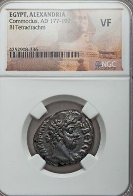 Egypt Alexandria Commodus Bl Tetradrachm NGC VF Ancient Silver Coin