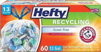 Hefty Recycling Trash / Garbage Bags Clear, Kitchen Drawstring, 13 Gallon, 60