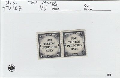 U.s. Td107 Coil Test Stamp Pair,nh
