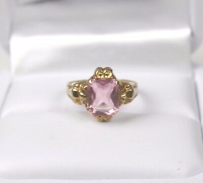 Vintage Art Deco 10k Yellow Gold Pink Multi Faceted Glass Stone Ring Size 3