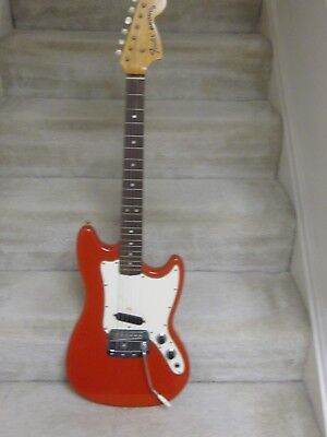 1968 Fender Bronco electric guitar with original case-nitro red finish