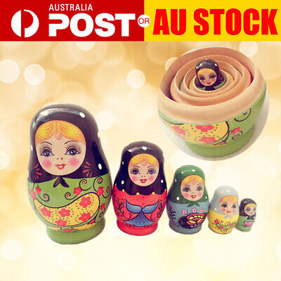 5pcs/set Matryoshka Russian Nesting Doll Babushka Wooden Toys Gift Green Girls