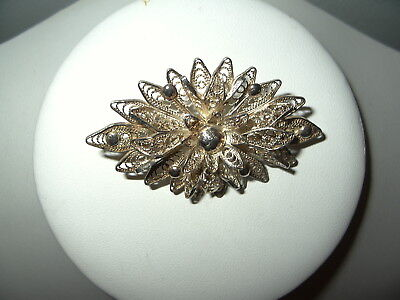 Vintage Antique Victorian Signed 940 Silver Filigree Flower Brooch Pin C Clasp