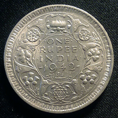 1942 British India Silver One Rupee Coin