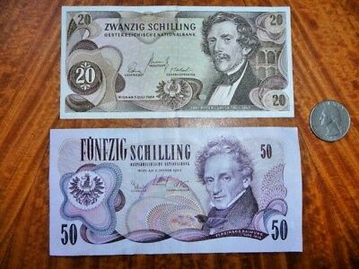 Lot of 2 Austrian Banknotes 1967 & 1970 Very Fine & Extremely Fine
