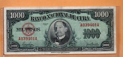 ****    Old Note From Cuba 1000 Pesos      ****